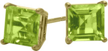 0.75Ct. Genuine 4mm Square Princess Peridot 14 Karat Yellow Gold Stud Earrings