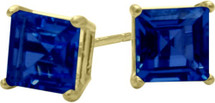 0.84Ct. Created 4mm Square Princess Cut Sapphire 14 Karat Yellow Gold Stud Earrings