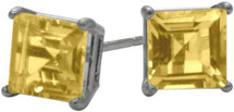 0.65Ct. Genuine 4mm Square Princess Citrine 14 Karat White Gold Stud Earrings