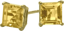 0.65Ct. Genuine 4mm Square Princess Citrine 14 Karat Yellow Gold Stud Earrings