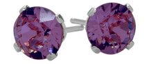 0.48Ct. Genuine 4mm Round Amethyst 14 Karat White Gold Stud Earrings