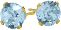 0.90Ct. Created 4mm Round Aquamarine 14 Karat Yellow Gold Stud Earrings