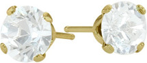 0.65Ct. Genuine 4mm Round White Topaz 14 Karat Yellow Gold Stud Earrings