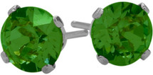 1.00Ct. Created 4mm Round Emerald 14 Karat White Gold Stud Earrings