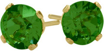 1.00Ct. Created 4mm Round Emerald 14 Karat Yellow Gold Stud Earrings