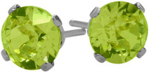 0.55Ct. Genuine 4mm Round Peridot 14 Karat White Gold Stud Earrings