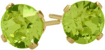 0.55Ct. Genuine 4mm Round Peridot 14 Karat Yellow Gold Stud Earrings
