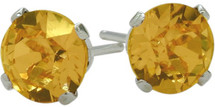 0.80Ct. Genuine 4mm Round Citrine 14 Karat White Gold Stud Earrings
