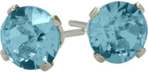 0.50Ct. Genuine 4mm Round Blue Topaz 14 Karat White Gold Stud Earrings