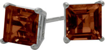 1.50Ct. Genuine 5mm Square Princess Cut Garnet Sterling Silver Stud Earrings with Rhodium Plating