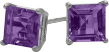 1.20Ct. Genuine 5mm Square Princess Cut Amethyst Sterling Silver Stud Earrings with Rhodium Plating