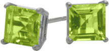 1.35Ct. Genuine 5mm Square Princess Cut Peridot Sterling Silver Stud Earrings with Rhodium Plating