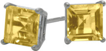 1.20Ct. Genuine 5mm Square Princess Cut Citrine Sterling Silver Stud Earrings with Rhodium Plating