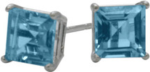 1.55Ct. Genuine 5mm Square Princess Cut Blue Topaz Sterling Silver Stud Earrings with Rhodium Plating