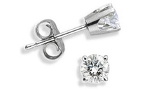 14 Karat White Gold BABY 0.10 TCW Diamond Stud Earrings