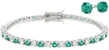 Ladies 10 Carat Created Emerald Tennis Bracelet & Earring Set