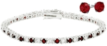 Ladies 10 Carat Created Ruby Tennis Bracelet & Earring Set