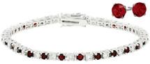 Ladies 10 Carat Created Ruby Tennis Bracelet & Earring Set