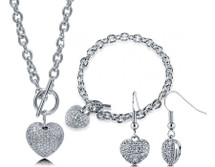 3D Pave Set Heart Silvertone Necklace, Bracelet and Earring Set
