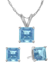 14K White Gold CHOOSE YOUR STONE Solitaire Princess Cut Pendant and Earrings Set