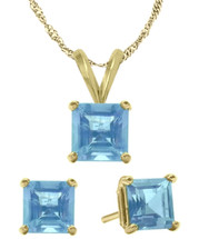 14K Yellow Gold CHOOSE YOUR STONE Solitaire Princess Cut Pendant And Earrings Set