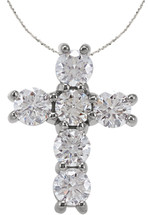 Petite 14 Karat White Gold Diamond Cross