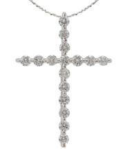 14 Karat White Gold Diamond Cross with Chain