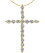 14 Karat Yellow Gold Diamond Cross with Chain