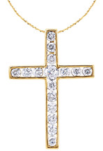 14 Karat Yellow Gold Round Diamond Cross with Chain