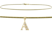 Diamond Initial 10 Karat Yellow Gold CHOOSE YOUR LETTER Snake Anklet