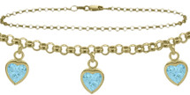 10 Karat Yellow Gold CHOOSE YOUR STONE Cable 3 Heart Charm Anklet