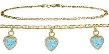 10 Karat Yellow Gold CHOOSE YOUR STONE 3 Heart Charm Flat Gucci Anklet