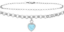 Sterling Silver CHOOSE YOUR STONE Cable Heart Charm Anklet