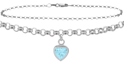 16d968984d Sterling Silver CHOOSE YOUR STONE Cable Heart Charm Anklet. Your Price:  69.95US (You save 50.05US). Image 1
