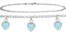 Sterling Silver CHOOSE YOUR STONE 3 Heart Charm Flat Gucci Anklet