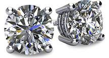 14 Karat White Gold SI2-I1 Clarity Screwback Round Brilliant Cut Certified Diamond Earrings