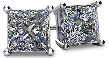 14 Karat White Gold SI3-I1 Clarity Screwback Princess Cut Brilliant Certified Diamond Earrings