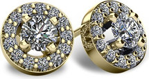 14 Karat Yellow Gold I1-I2 Clarity Halo Round Brilliant Cut Diamond Earrings