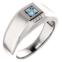 Men's Genuine Sterling Silver CHOOSE YOUR STONE & Diamond Ring