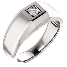 Men's Diamond Genuine Sterling Silver Ring