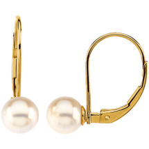 14 Karat Yellow Gold White Cultured Pearl Lever Back Earrings