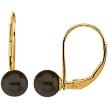 14 Karat Yellow Gold Black Cultured Pearl Lever Back Earrings