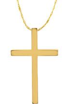 14 Karat Yellow Gold CHOOSE YOUR CROSS SIZE Plain Cross