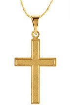 14 Karat Yellow Gold CHOOSE YOUR CROSS SIZE Brushed Finish Cross