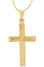 14 Karat Yellow Gold CHOOSE YOUR CROSS SIZE Detailed Cross