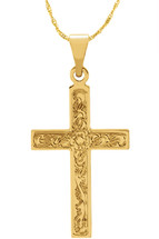 14 Karat Yellow Gold CHOOSE YOUR CROSS SIZE Floral Cross