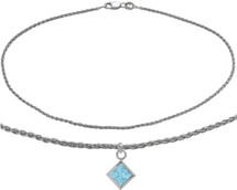 10 Karat White Gold CHOOSE YOUR STONE Wheat Square Charm Anklet