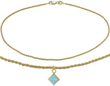 10 Karat Yellow Gold CHOOSE YOUR STONE Wheat Square Charm Anklet
