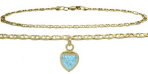 10 Karat Yellow Gold CHOOSE YOUR STONE Heart Charm Flat Gucci Anklet
