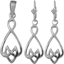 10 Karat White Gold Celtic Drop Pendant & Earring Set